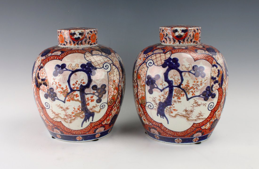PAIR OF MATCHING GINGER JARS WITH TWO LIDS - 3