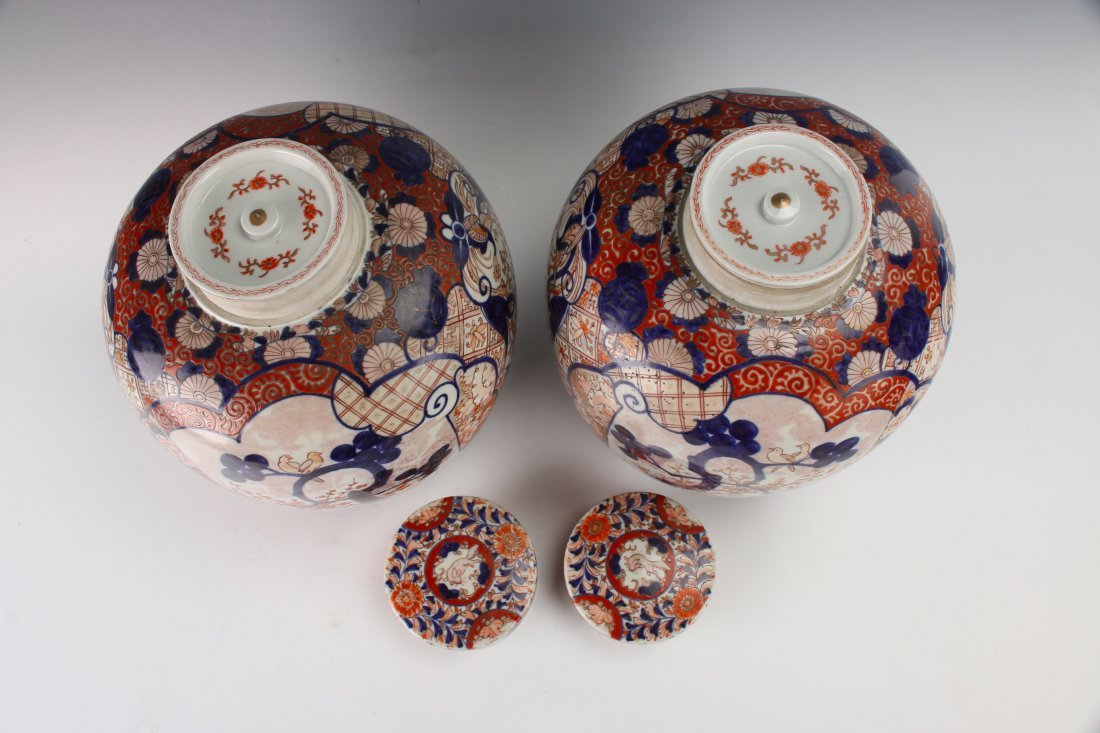 PAIR OF MATCHING GINGER JARS WITH TWO LIDS - 4