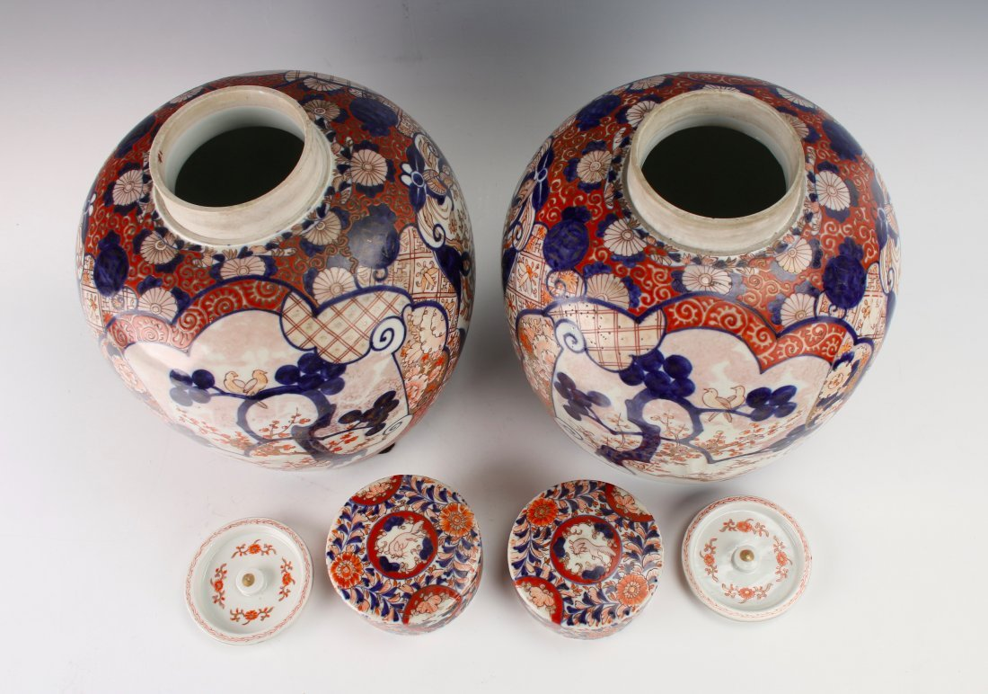 PAIR OF MATCHING GINGER JARS WITH TWO LIDS - 5