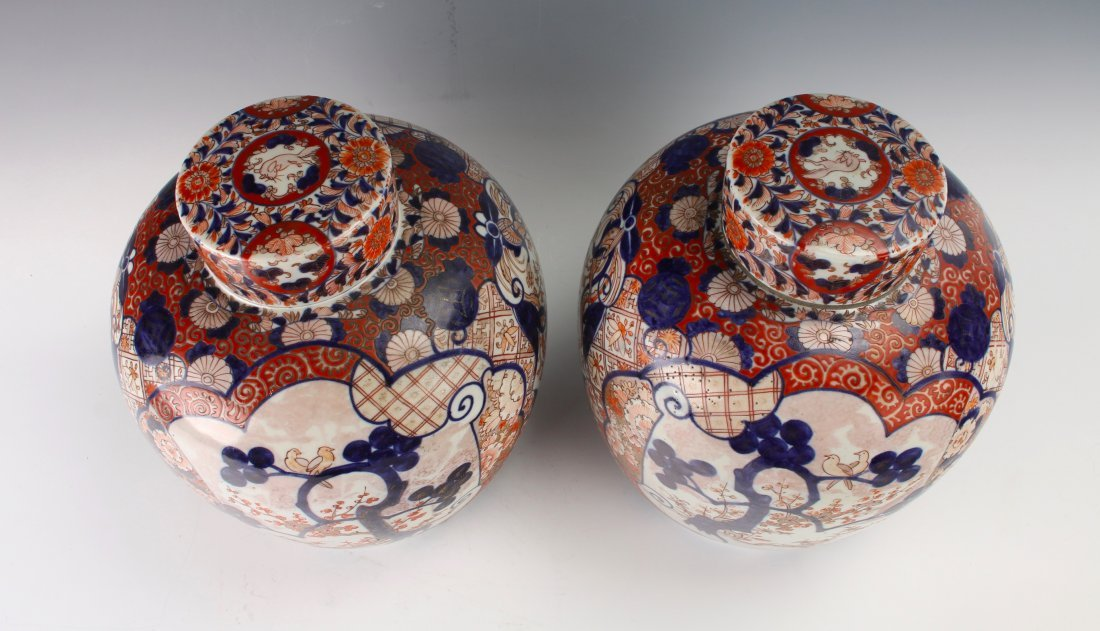PAIR OF MATCHING GINGER JARS WITH TWO LIDS - 7