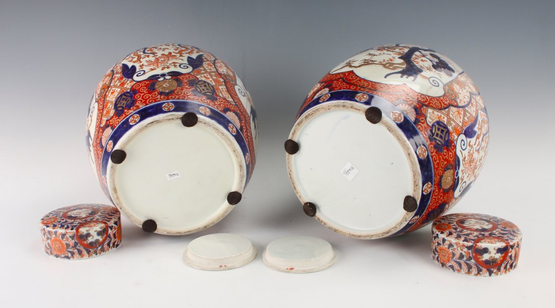 PAIR OF MATCHING GINGER JARS WITH TWO LIDS - 8