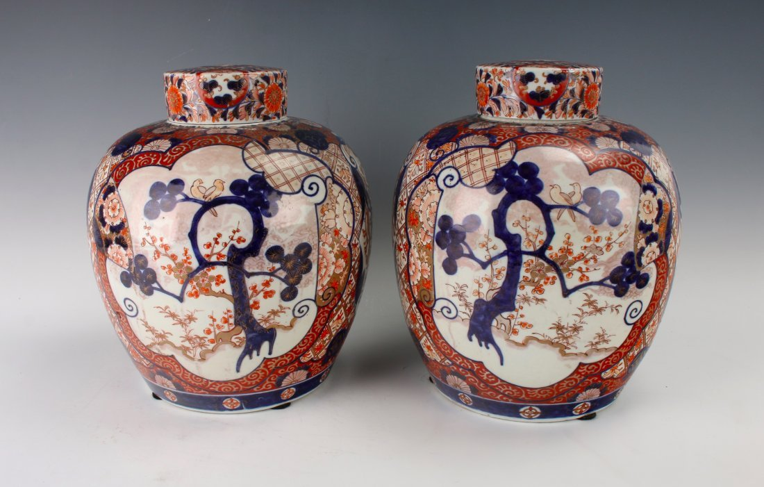 PAIR OF MATCHING GINGER JARS WITH TWO LIDS - 9