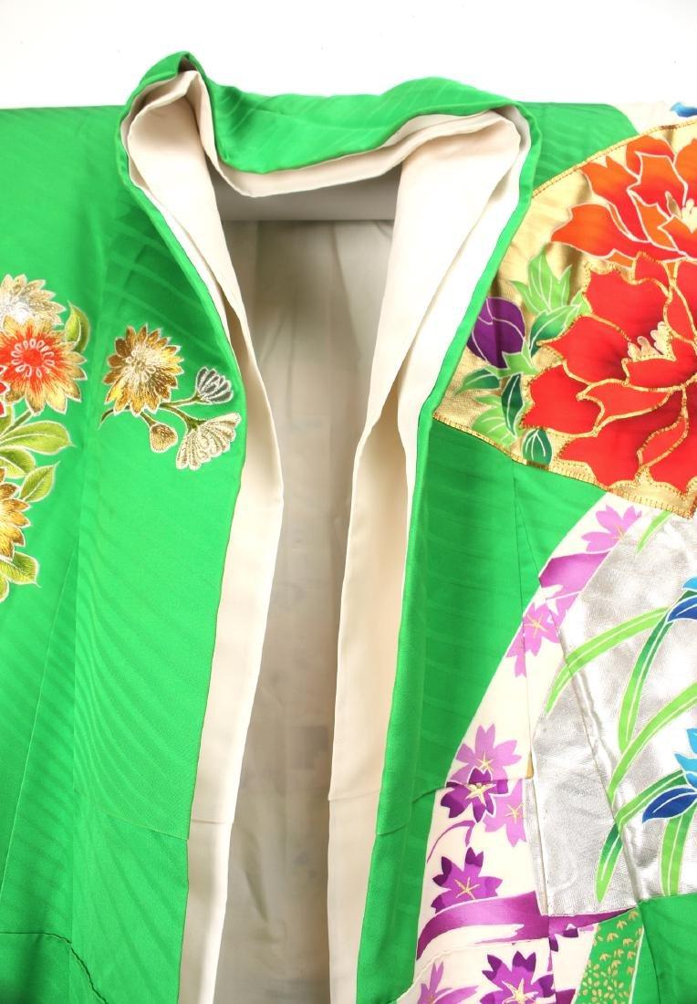 JAPANESE BRIGHT GREEN SILK KIMONO - 3
