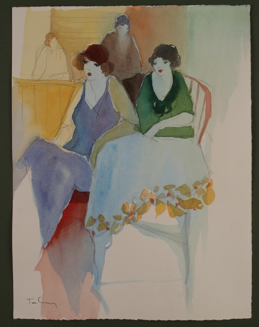 ART DECO PENCIL WATERCOLOR PAINTING C 1920-1930