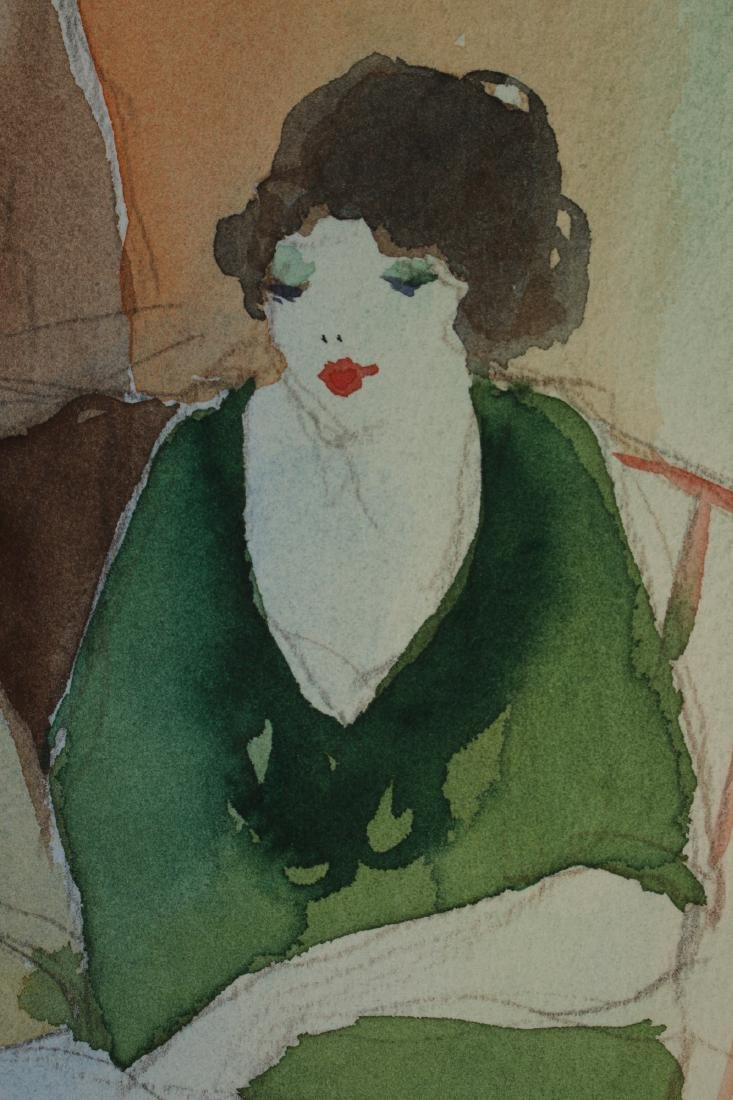 ART DECO PENCIL WATERCOLOR PAINTING C 1920-1930 - 3