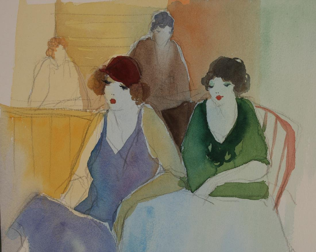 ART DECO PENCIL WATERCOLOR PAINTING C 1920-1930 - 4