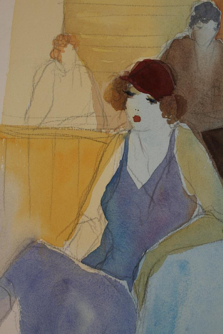 ART DECO PENCIL WATERCOLOR PAINTING C 1920-1930 - 5