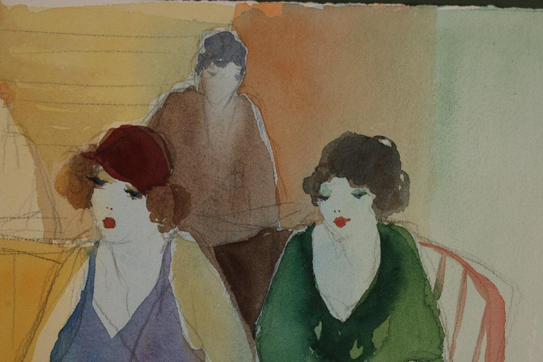 ART DECO PENCIL WATERCOLOR PAINTING C 1920-1930 - 6