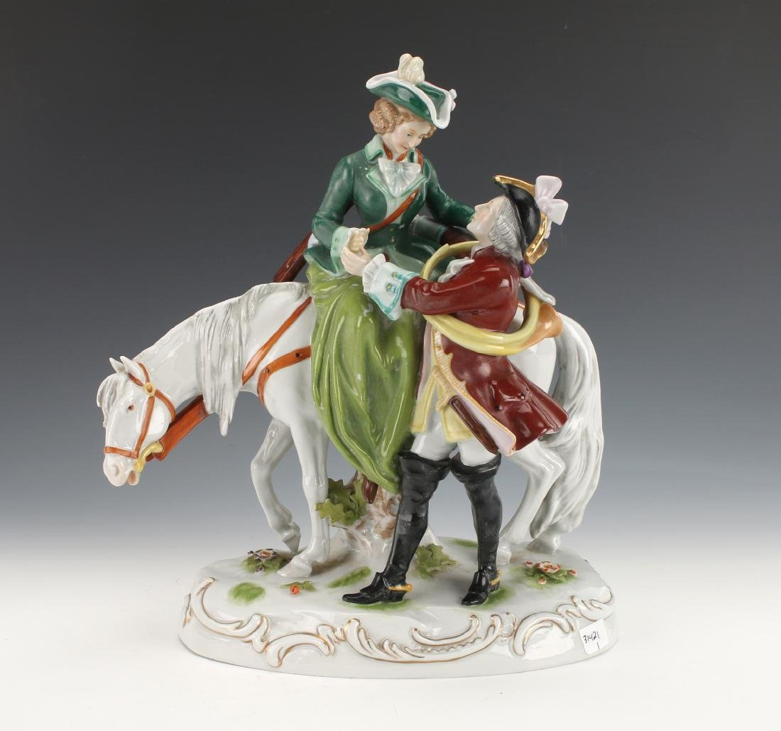 PORCELAIN HUNTING COUPLE FIGURINE SCHEIBE-ALSBACH
