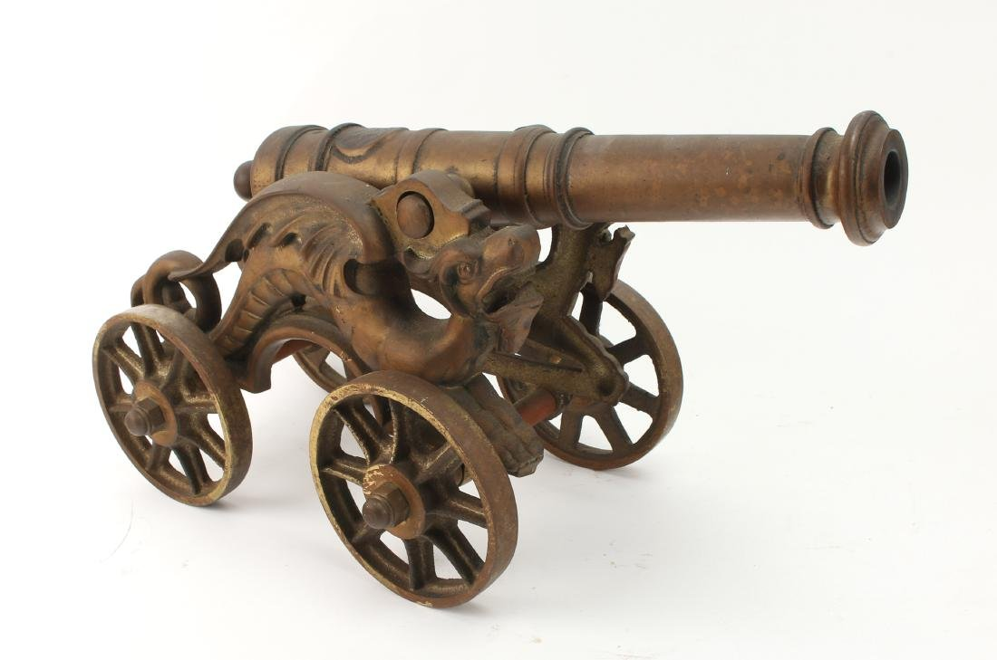 LARGE CAST BRONZE DESK MODEL CANNON WITH DRAGONS