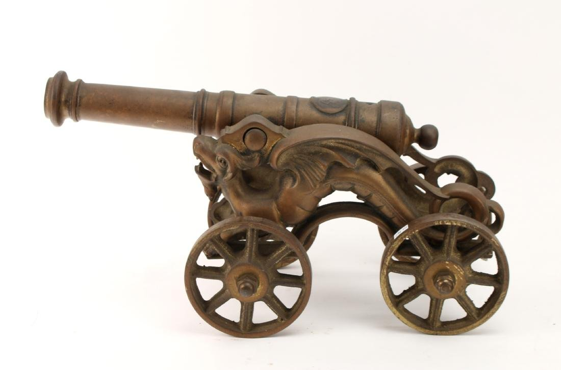 LARGE CAST BRONZE DESK MODEL CANNON WITH DRAGONS - 2