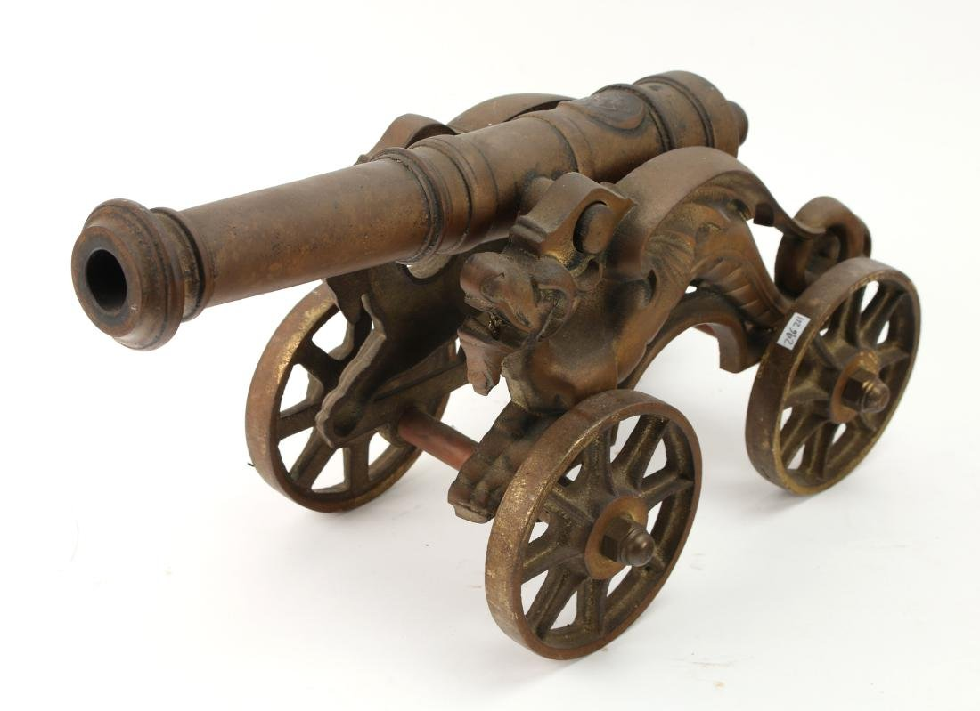 LARGE CAST BRONZE DESK MODEL CANNON WITH DRAGONS - 3