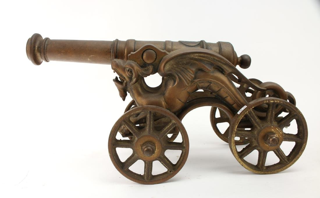 LARGE CAST BRONZE DESK MODEL CANNON WITH DRAGONS - 5