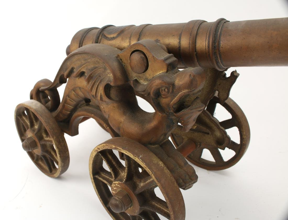 LARGE CAST BRONZE DESK MODEL CANNON WITH DRAGONS - 6