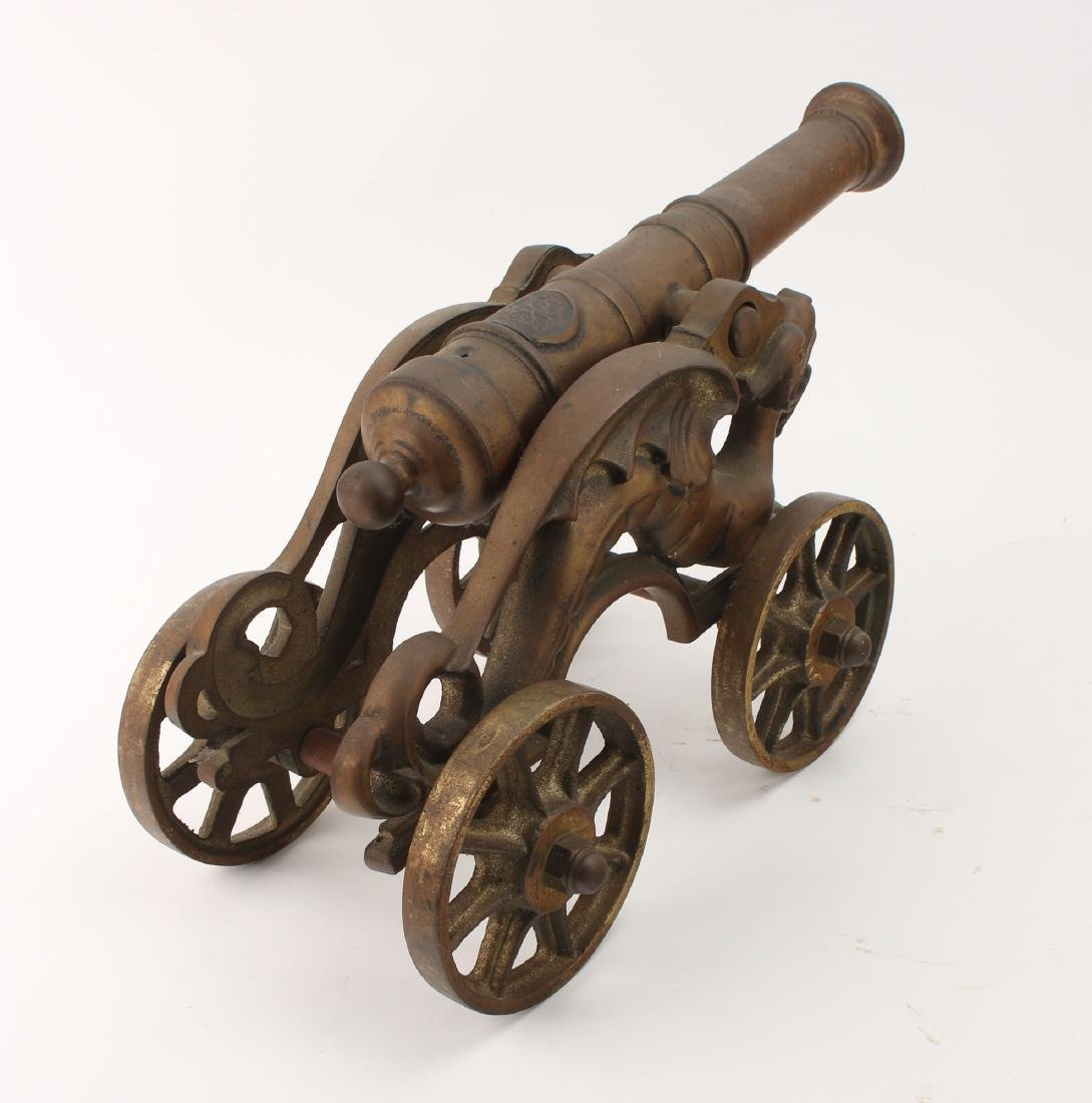 LARGE CAST BRONZE DESK MODEL CANNON WITH DRAGONS - 7