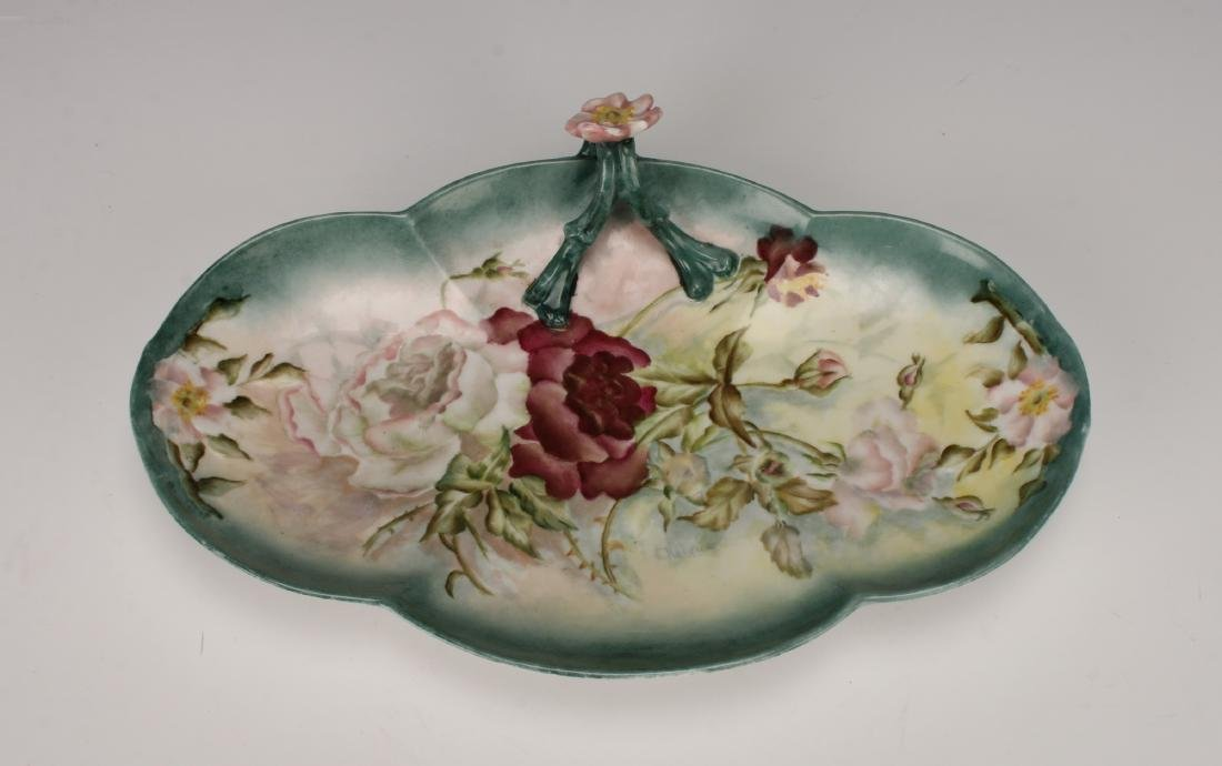 HAND PAINTED LIMOGE ROSE DISH