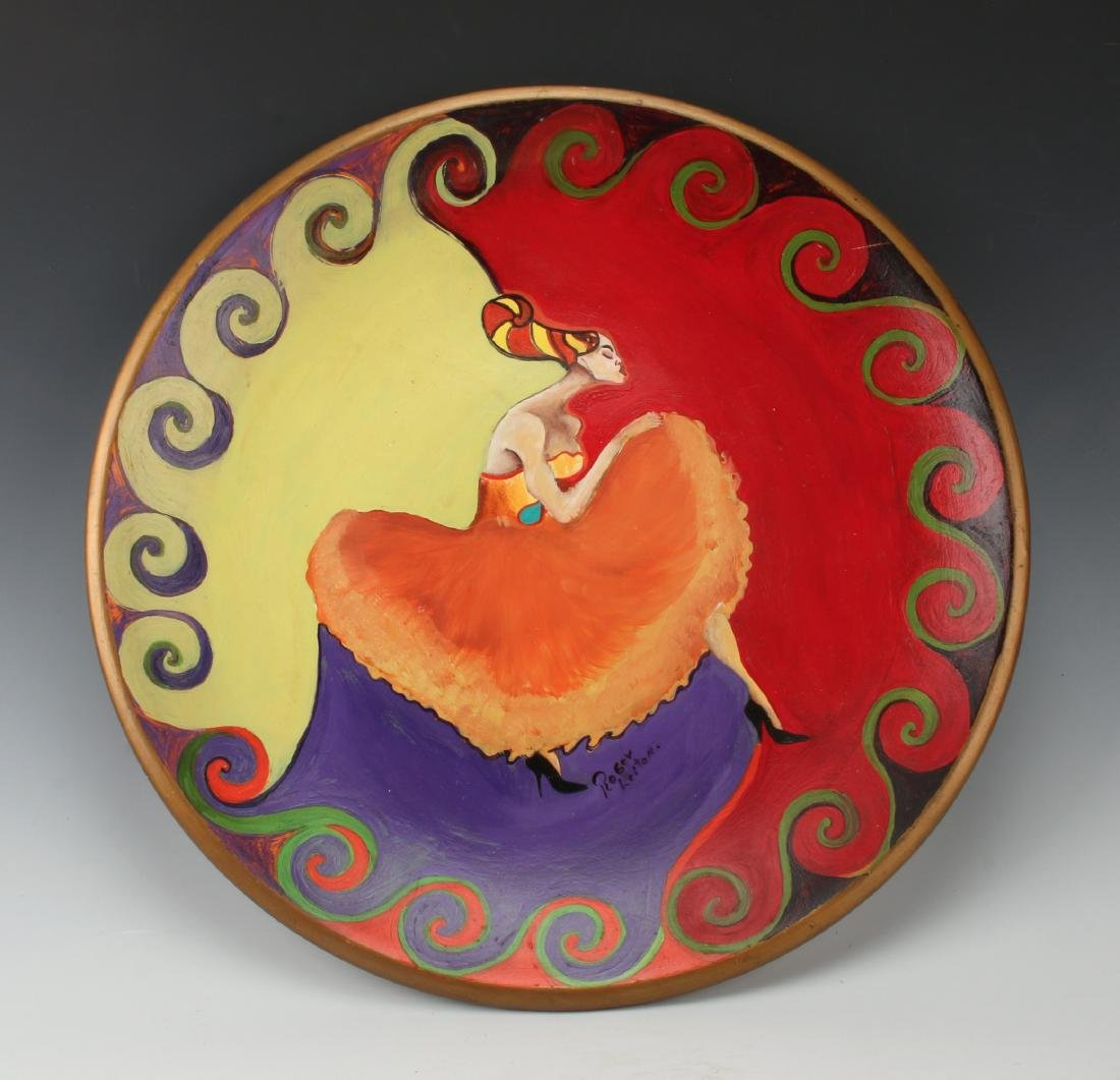 HAND PAINTED PLASTER CHARGER ROGER LEITON