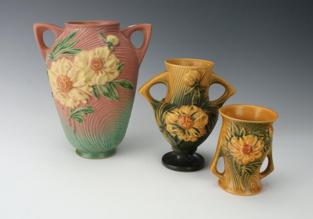 3 PIECES OF ROSEVILLE IN PEONY PATTERN