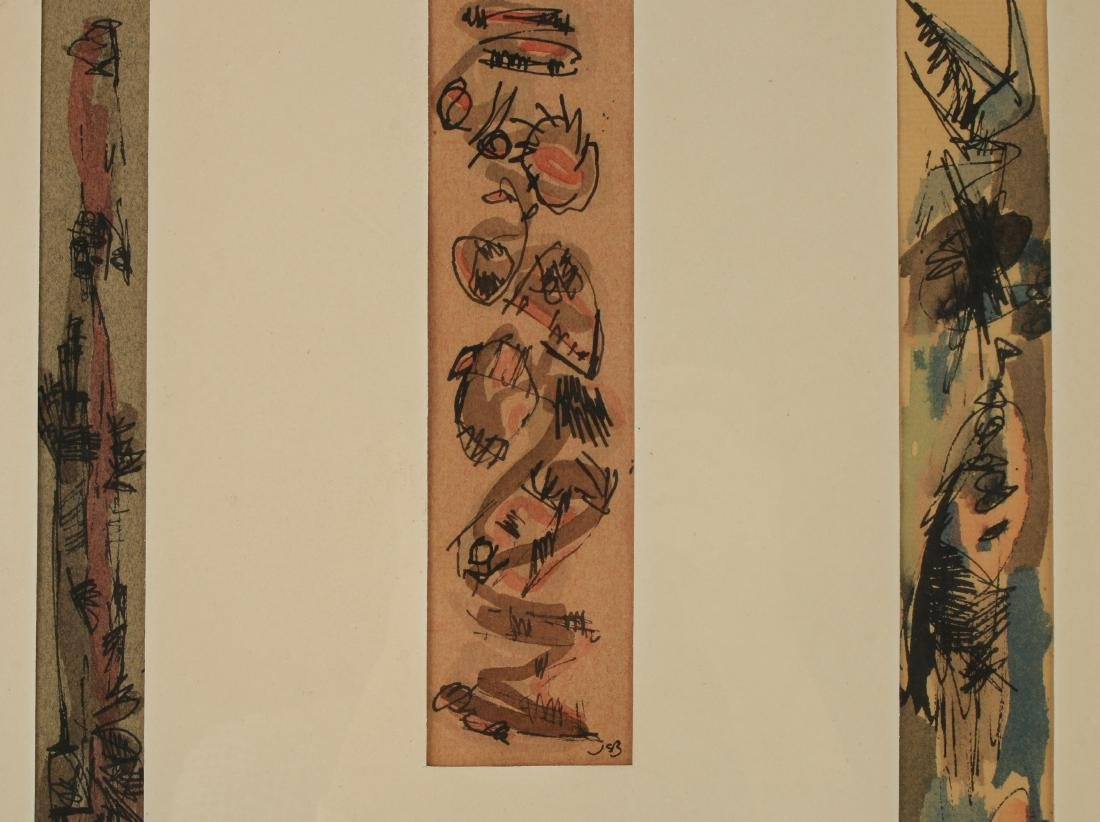 THREE WATERCOLOR AND INK PAINTINGS - 3