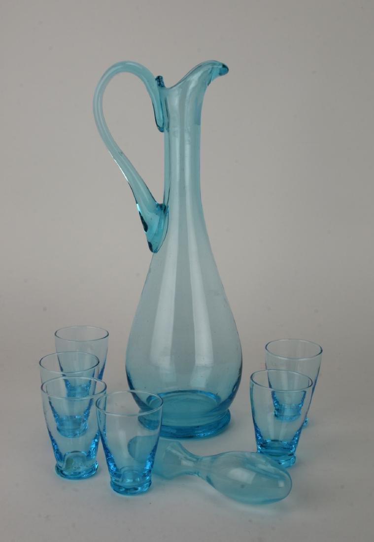 MID CENTURY ITALIAN GLASS DECANTER W/ SIX GLASSES - 2