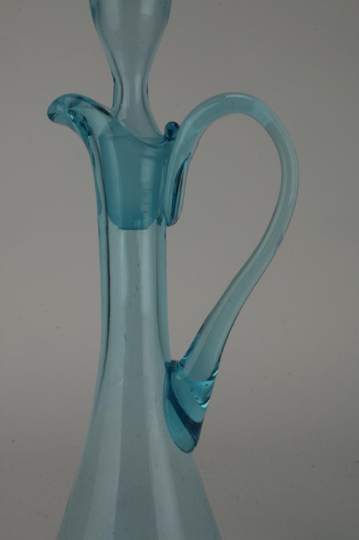 MID CENTURY ITALIAN GLASS DECANTER W/ SIX GLASSES - 3