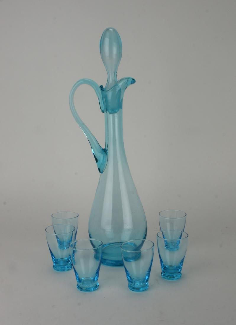 MID CENTURY ITALIAN GLASS DECANTER W/ SIX GLASSES - 9