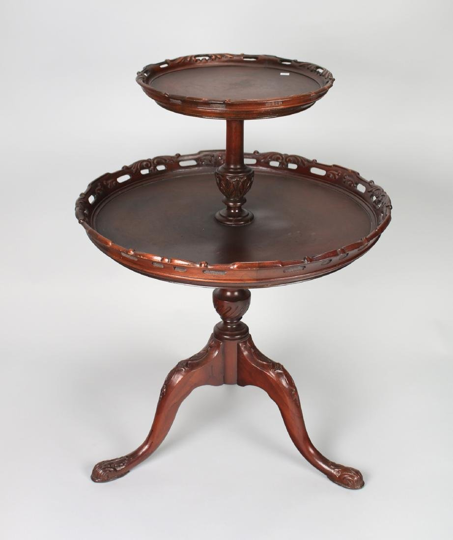 TWO TIER QUEEN ANNE PIE CRUST TABLE - 2