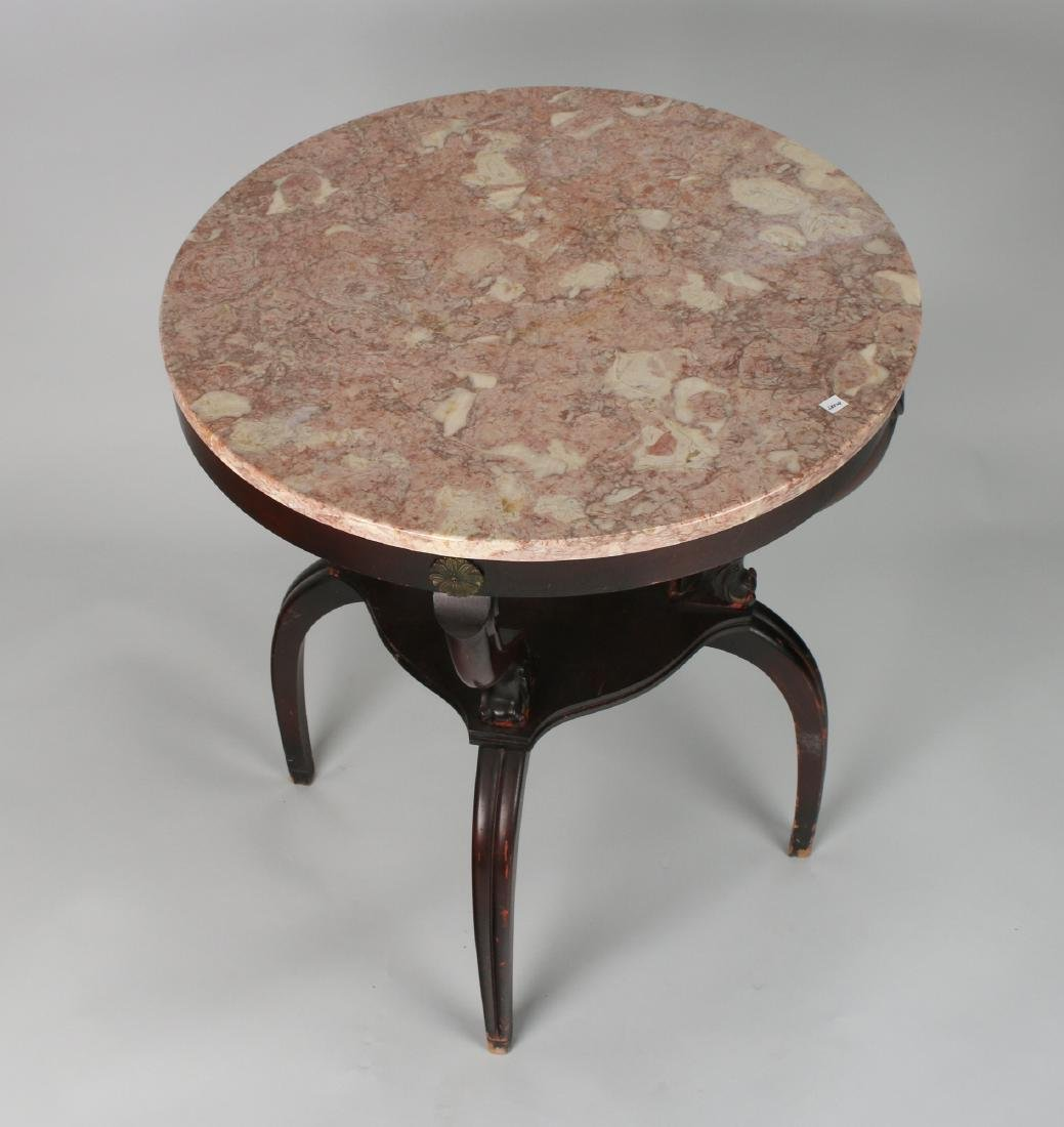 VINTAGE MARBLE TOP TABLE 1940S - 3