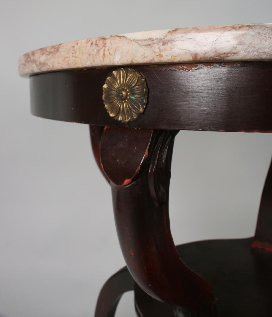 VINTAGE MARBLE TOP TABLE 1940S - 4