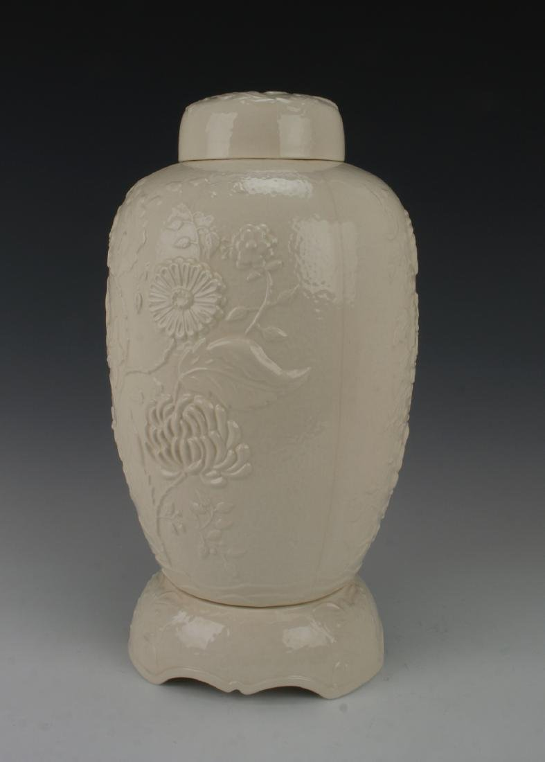 WHITE CERAMIC JAR - 2