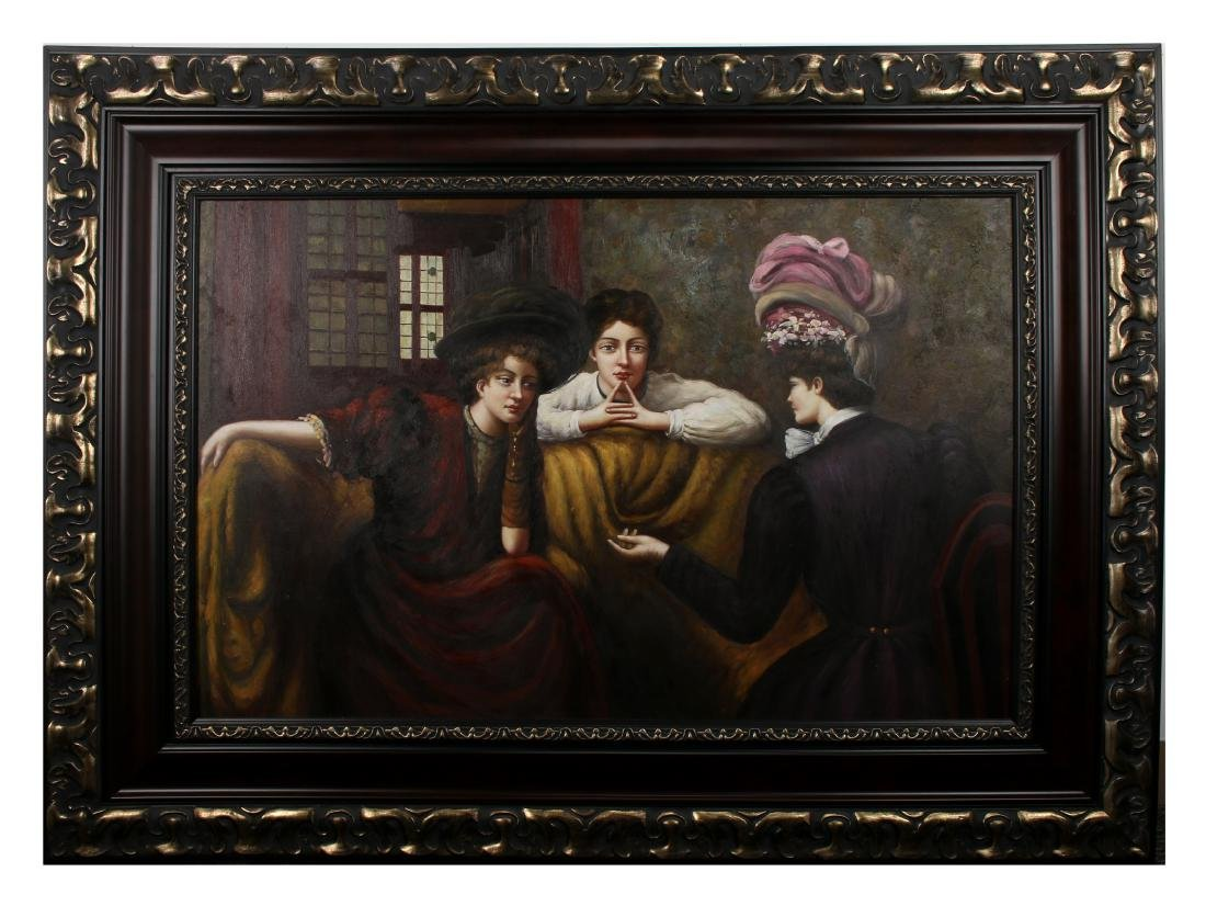 LARGE OIL PAINTING OF THREE WOMEN