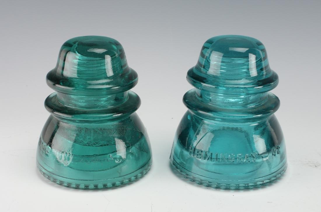 TWO HEMINGRAY GLASS COMPANY TELEGRAPH INSULATORS