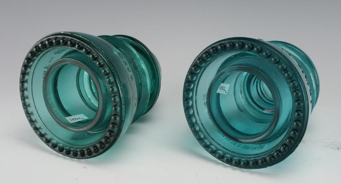 TWO HEMINGRAY GLASS COMPANY TELEGRAPH INSULATORS - 3