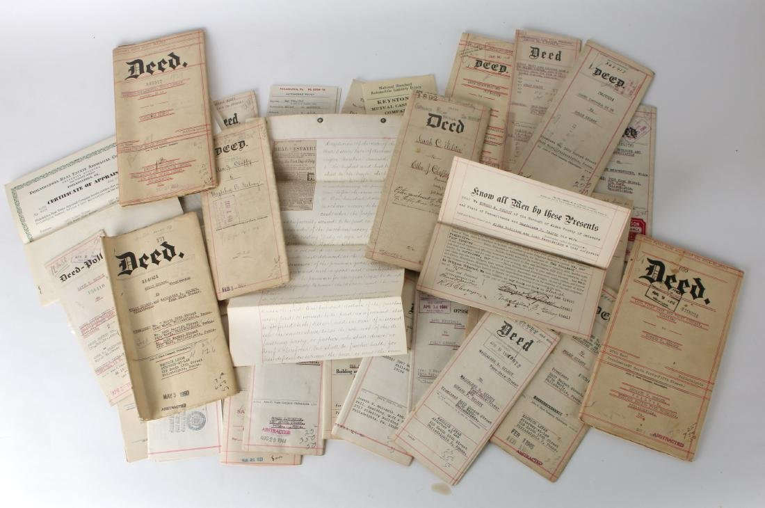 DEEDS, WARRANTIES, INS POLICIES 1890S - 1940S