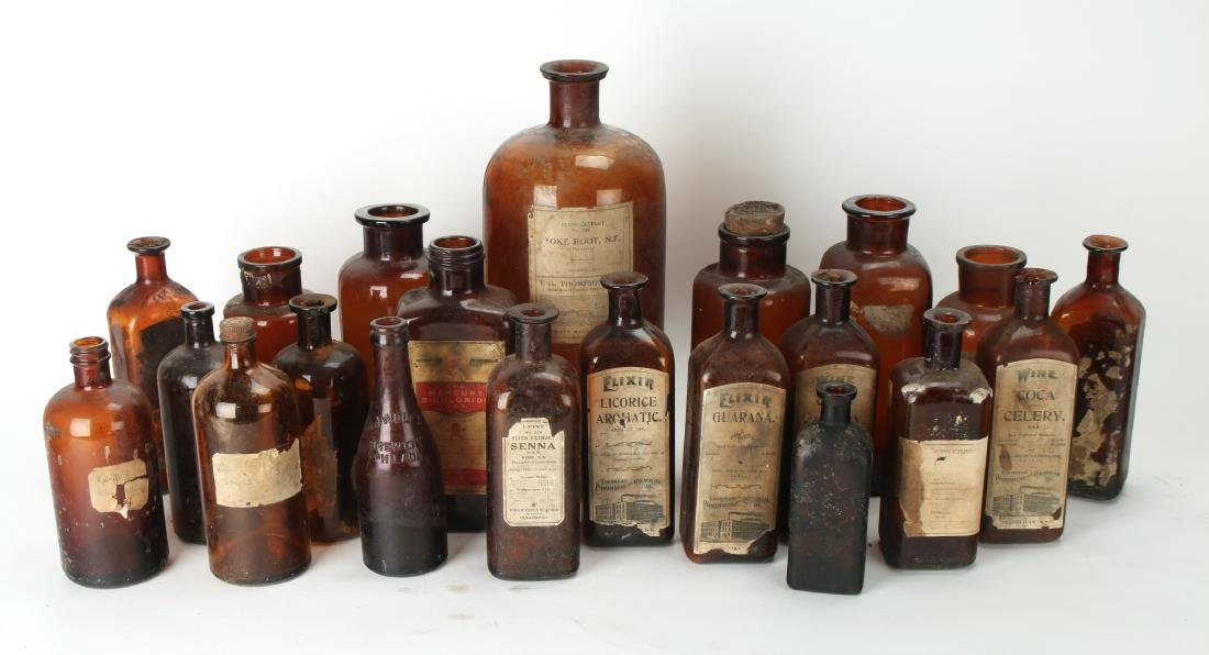 LARGE LOT OF APOTHECARY BOTTLES - 2