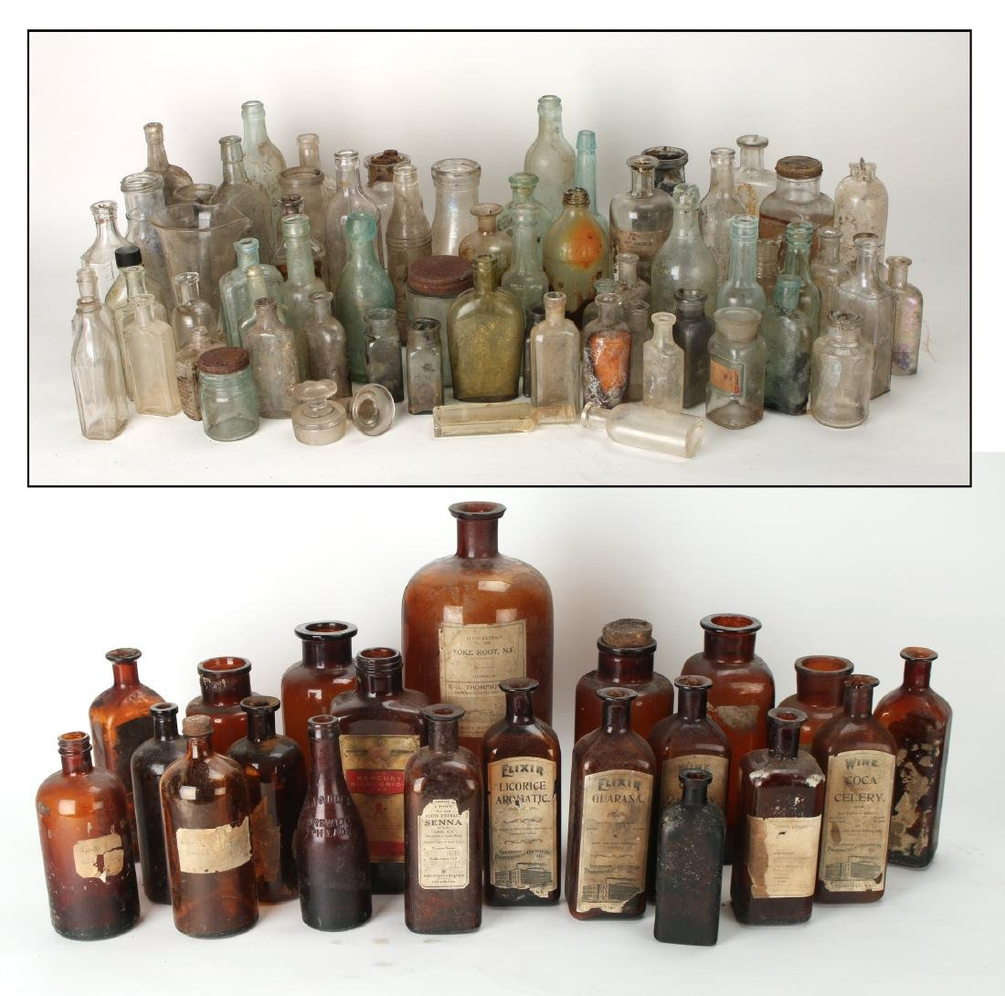 LARGE LOT OF APOTHECARY BOTTLES - 9