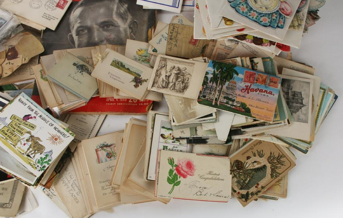 LARGE LOT POST CARDS, STAMPS, HALLMARK, CURRENCY - 10