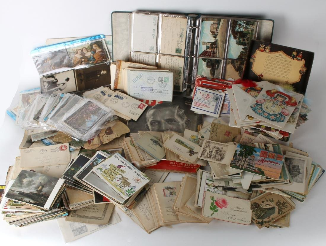 LARGE LOT POST CARDS, STAMPS, HALLMARK, CURRENCY
