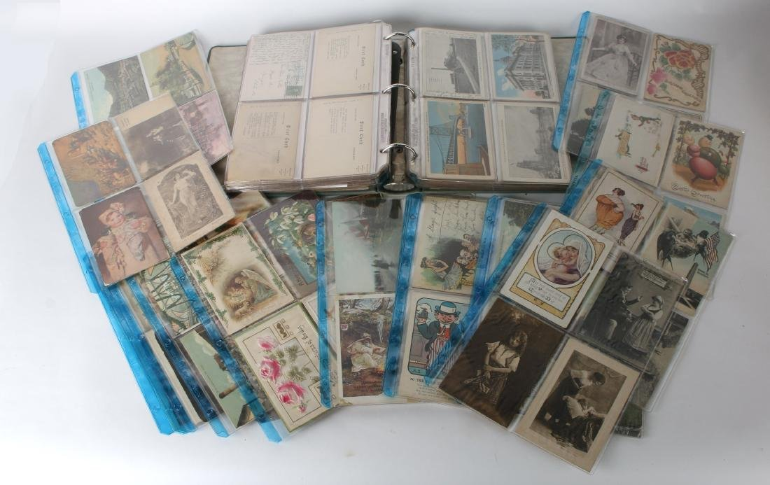 LARGE LOT POST CARDS, STAMPS, HALLMARK, CURRENCY - 2