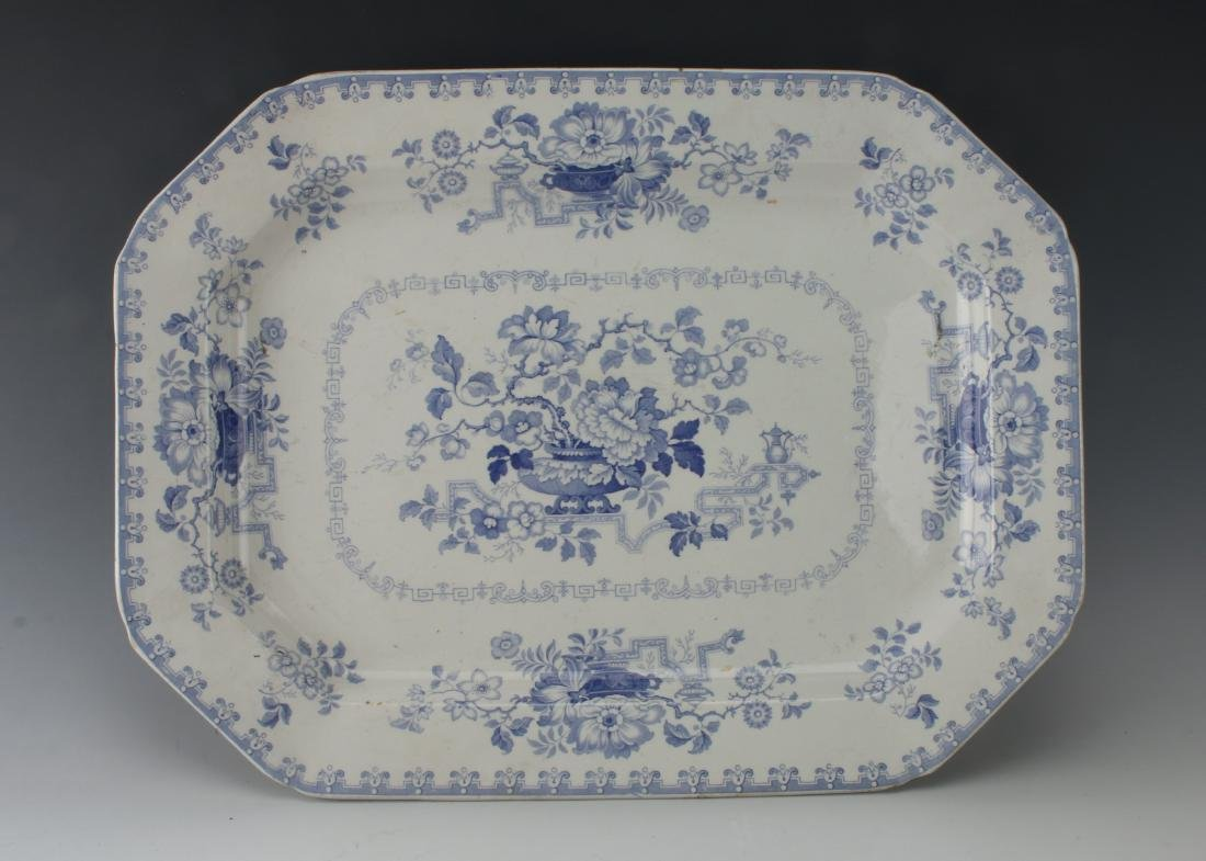 LARGE BLUE & WHITE NANKIN JAR IRONSTONE PLATTER