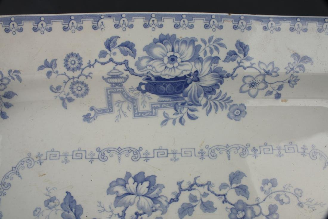 LARGE BLUE & WHITE NANKIN JAR IRONSTONE PLATTER - 3