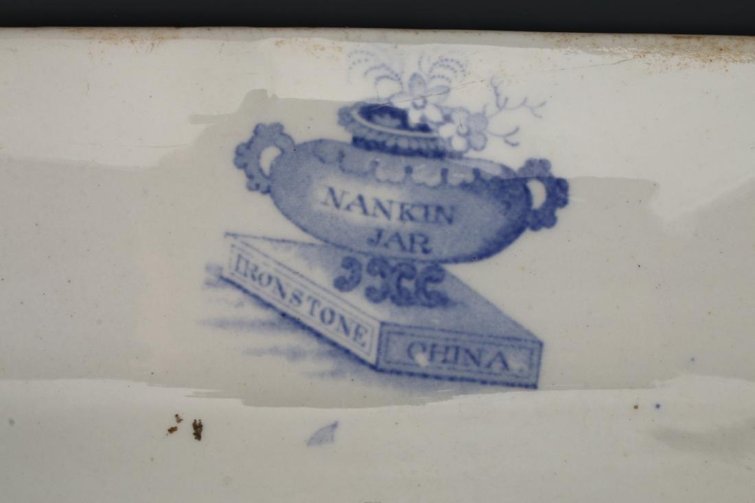 LARGE BLUE & WHITE NANKIN JAR IRONSTONE PLATTER - 4