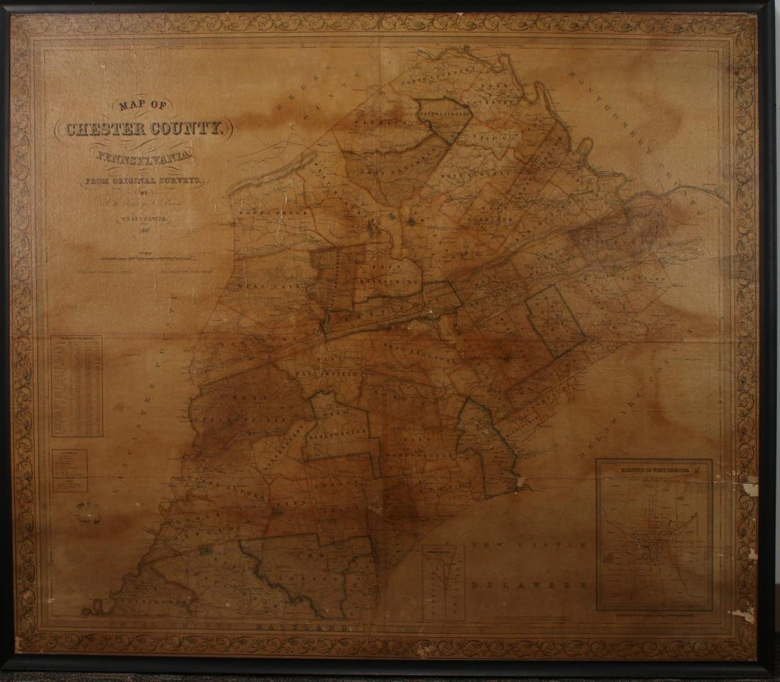 FRAMED MAP OF CHESTER COUNTY 1847
