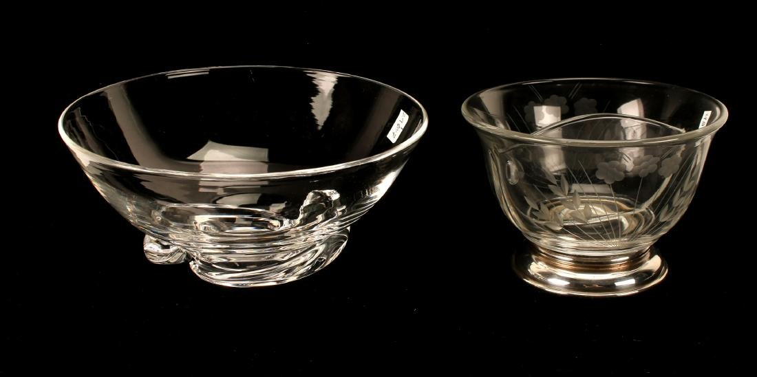 STEUBEN ART GLASS & ETCHED GLASS BOWL W/ STERLING