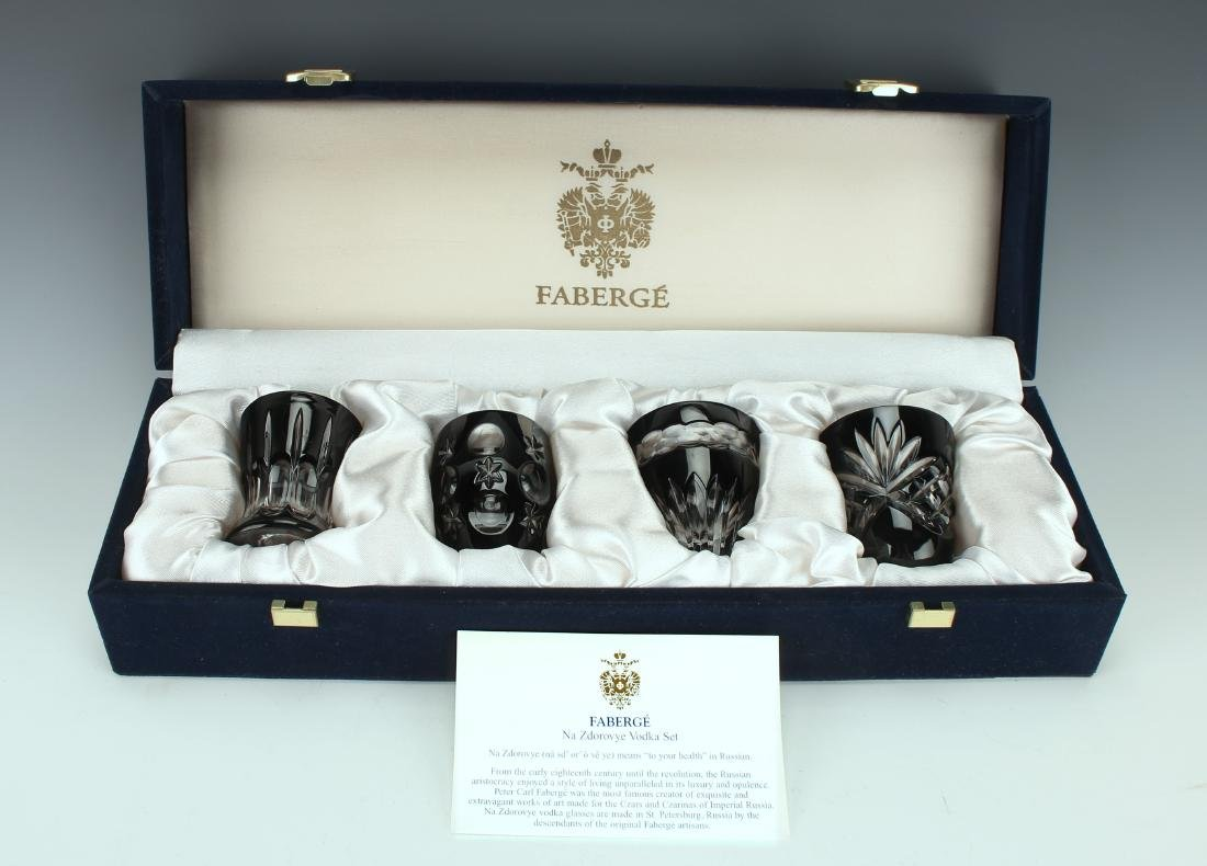 FABERGE VODKA GLASSES WITH CASE NIB