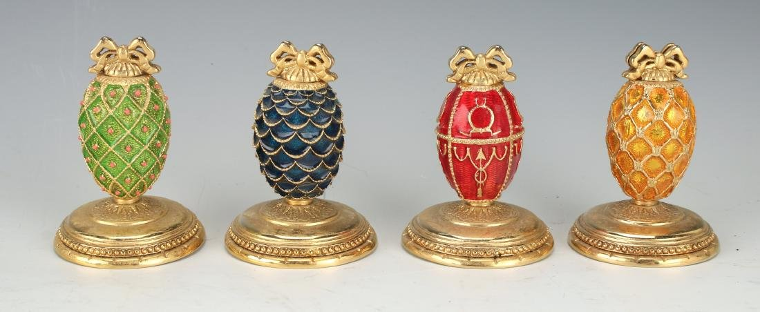 FOUR FABERGE EGG PLACE CARD HOLDERS