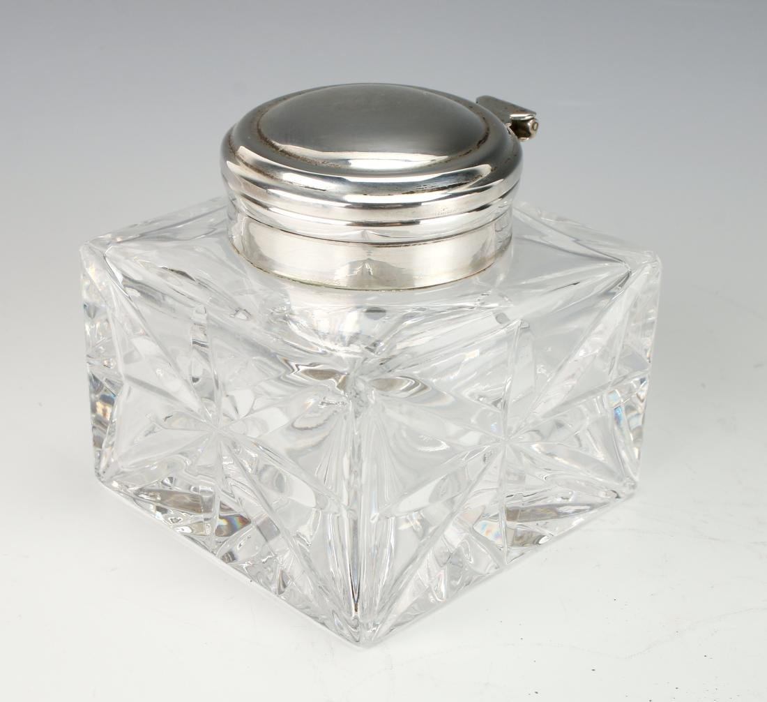 GLASS AND SILVER INKWELL