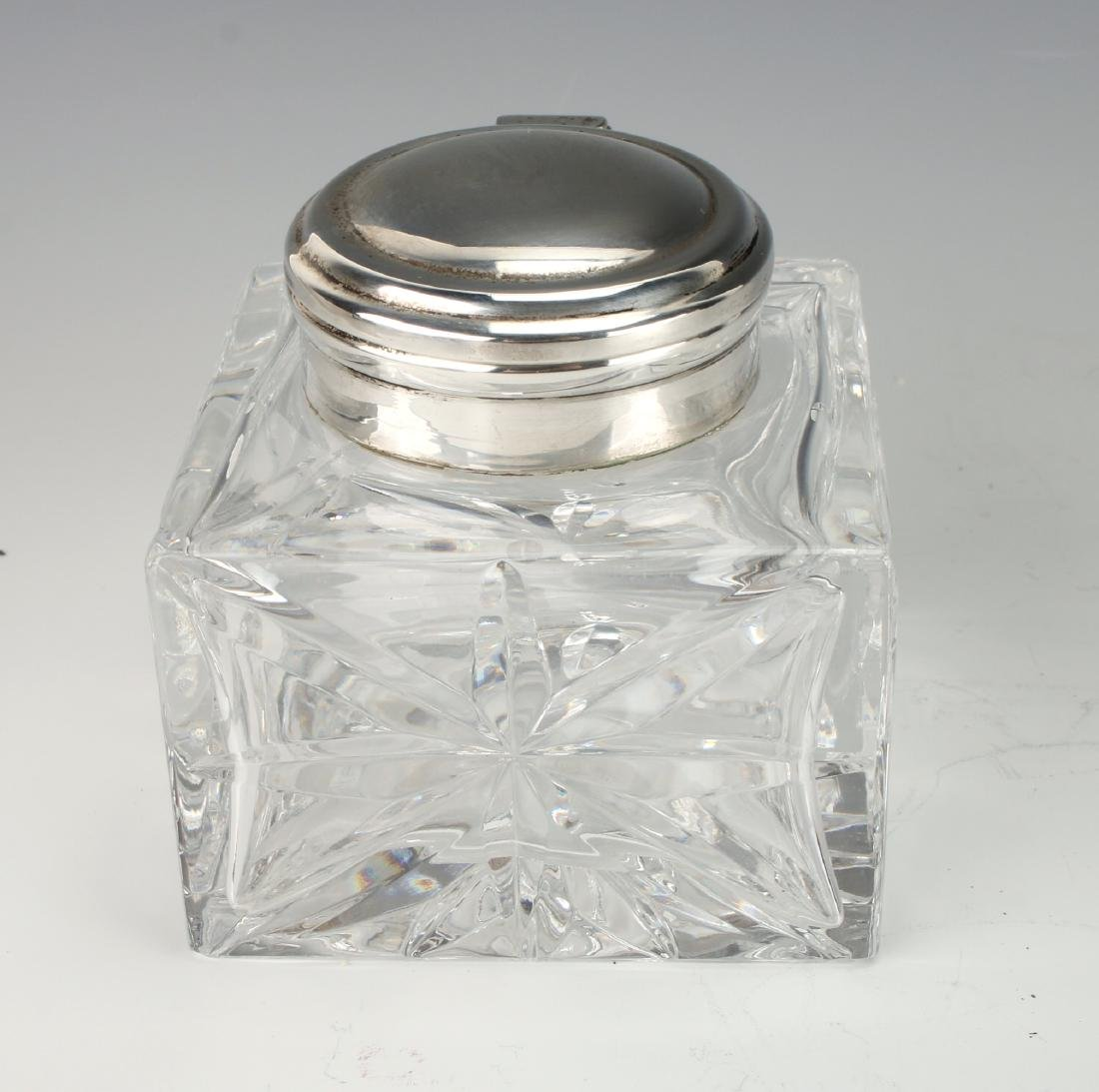 GLASS AND SILVER INKWELL - 3