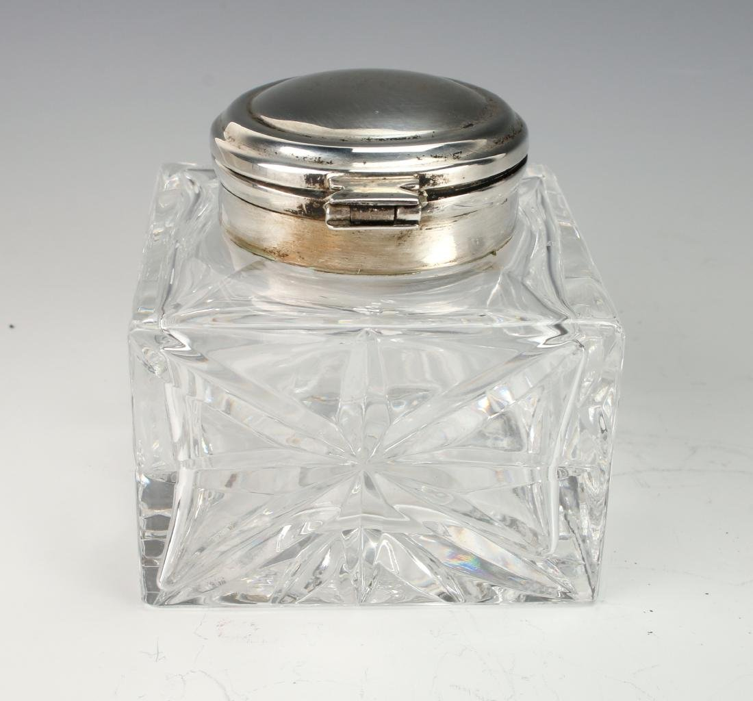 GLASS AND SILVER INKWELL - 4