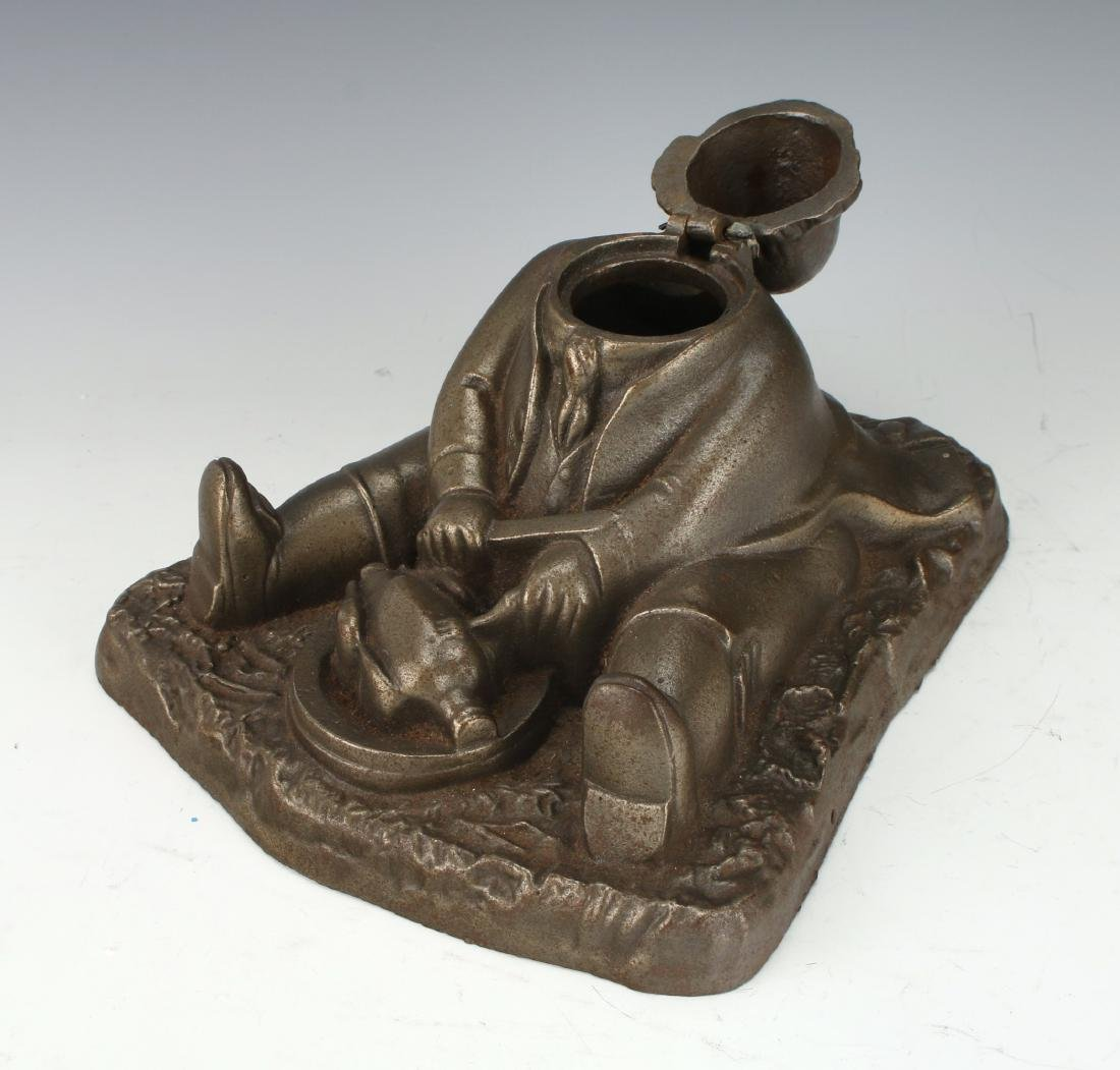 ANTIQUE BRASS INKWELL OF GLUTTON - 3